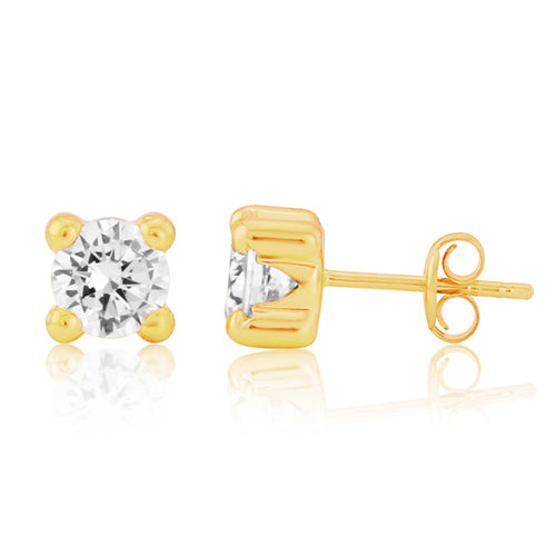 Cubic zirconia solitaire earrings in 9ct gold