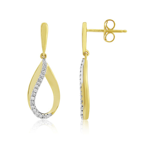Diamond set teardrop earrings in 9ct gold, 0.20ct