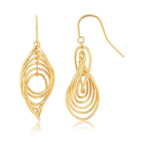 Multi-loop twist drop earrings in 9ct gold