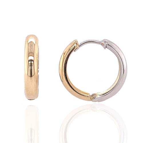 Hinged hoop earrings in 9ct yellow and white gold