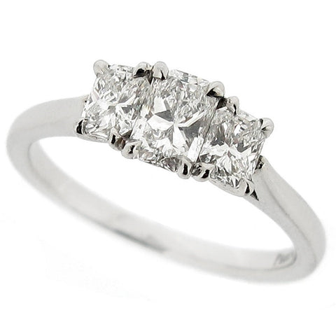 Phoenix cut diamond three stone ring in platinum, 0.86ct