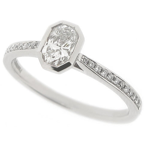 Rubover set Phoenix cut diamond ring in platinum, 0.50ct