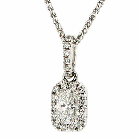 Phoenix cut diamond cluster pendant and chain in 18ct white gold, 0.53ct
