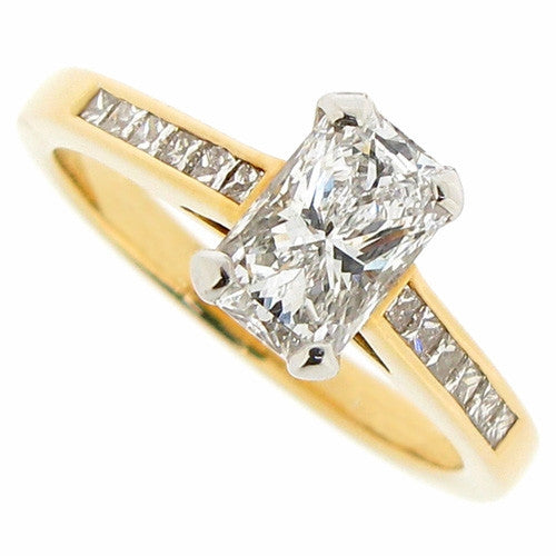 Ring - Phoenix Cut diamond ring with diamond shoulders in 18ct yellow gold and platinum, 1.17ct  - PA Jewellery