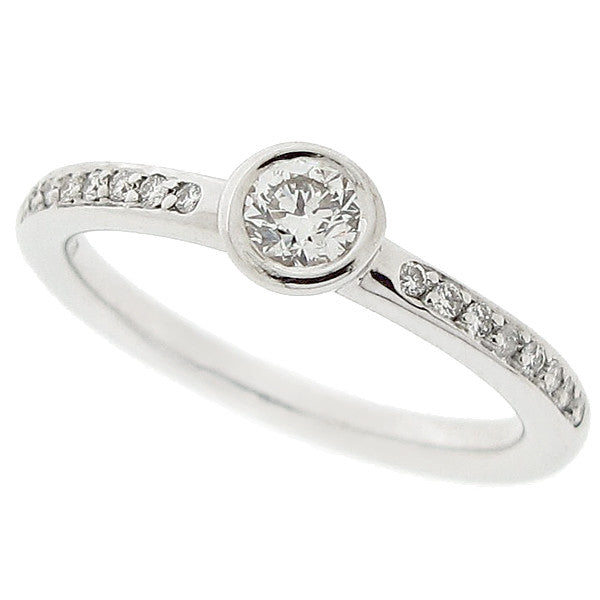 Diamond ring with diamond set shoulders in 18ct white gold, 0.30ct