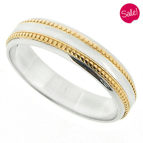 Beaded detail band ring in platinum and 18ct gold