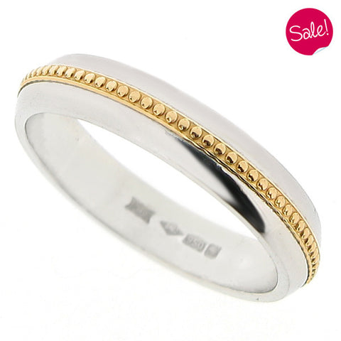 Beaded inlay band ring in platinum and 18ct yellow gold