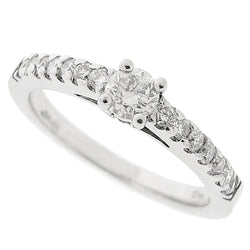 Diamond ring with diamond set shoulders in 18ct white gold, 0.50ct