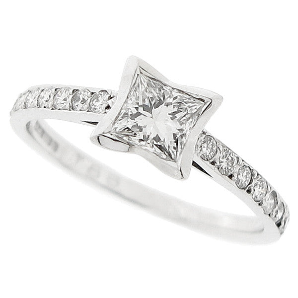 Princess cut diamond ring with diamond set shoulders in 18ct white gold, 0.72ct