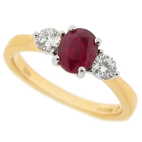 Ruby and diamond three stone ring in 18ct gold