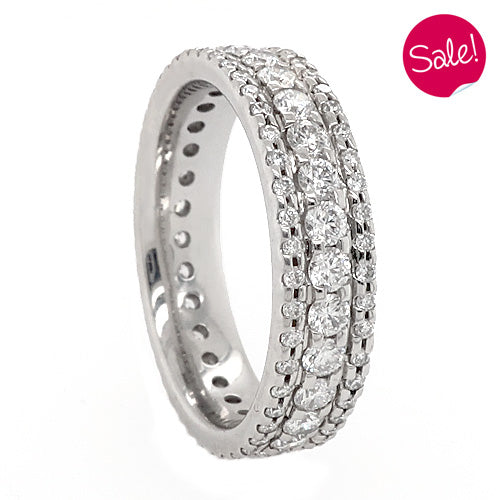 Three row micro set full eternity ring in platinum, 1.60ct