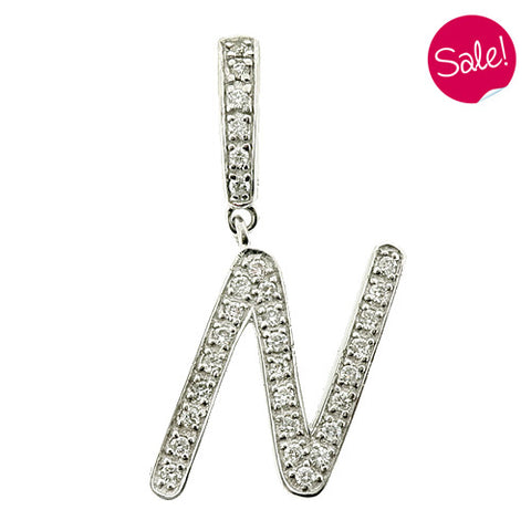 Diamond set initial 'N' pendant in 9ct white gold
