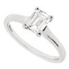 Emerald cut diamond solitaire ring in platinum, 0.77ct