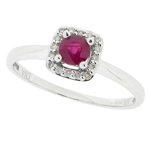 Rings - Ruby and diamond cluster ring in 9ct white gold  - PA Jewellery
