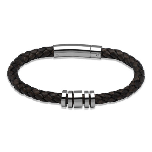 Wristwear - Dark brown leather bracelet with polished steel beads  - PA Jewellery