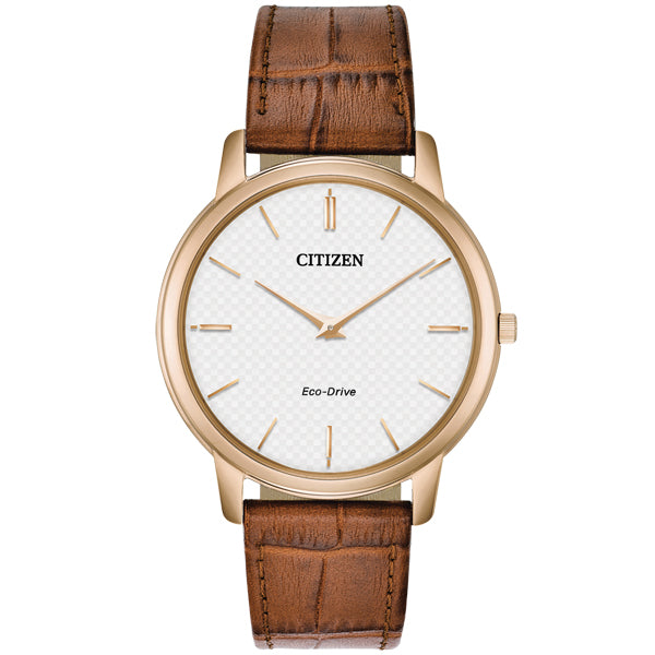 Men's Citizen Stiletto in rose gold plate on leather AR1133-15A