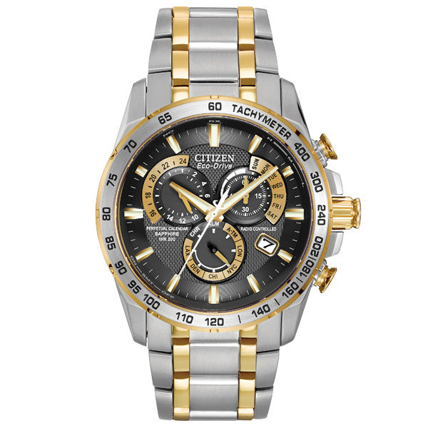 Men's Citizen Chrono Perpetual AT in two tone stainless steel AT4004-52E