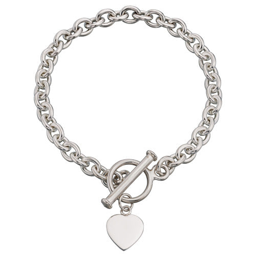 Engravable heart charm T-bar bracelet in silver