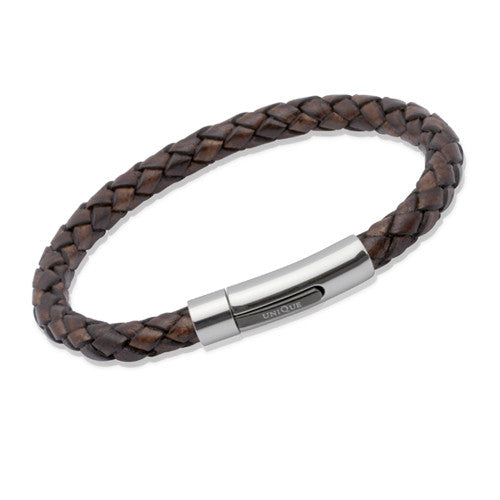 Wristwear - Dark brown leather bracelet with steel clasp  - PA Jewellery
