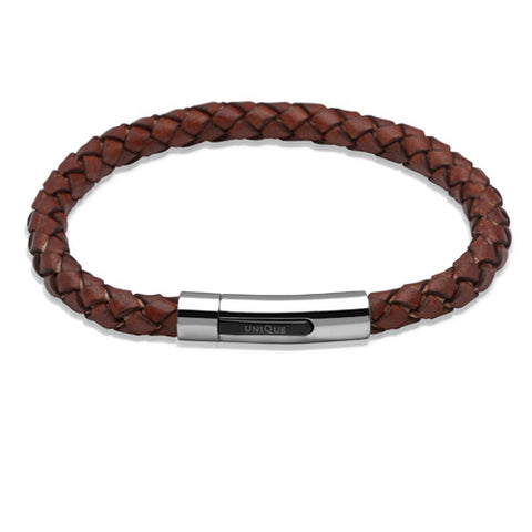 Wristwear - Antique rust colour leather bracelet with steel clasp  - PA Jewellery