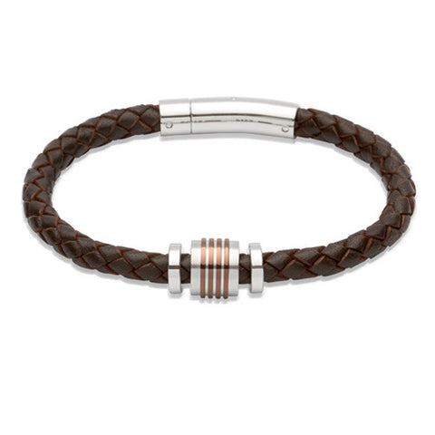 Wristwear - Dark brown leather bracelet with steel beads  - PA Jewellery