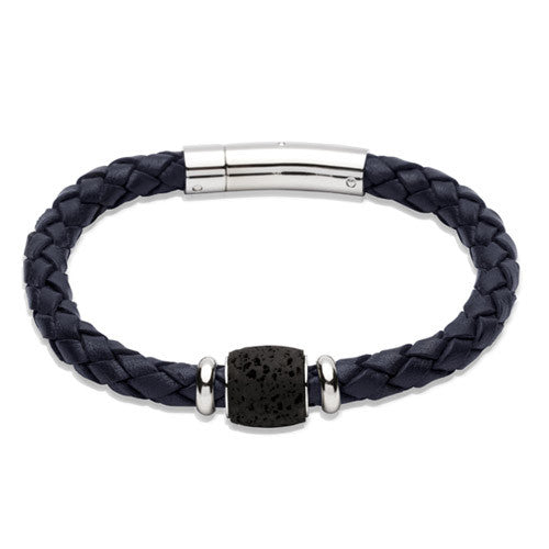 Wristwear - Blue leather bracelet with lava rock bead and steel clasp  - PA Jewellery