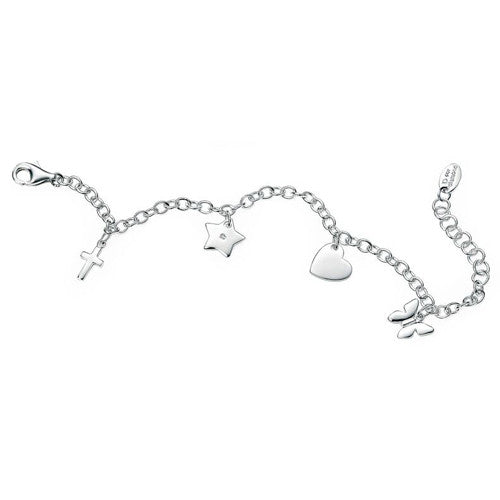 Diamond set charm bracelet in silver
