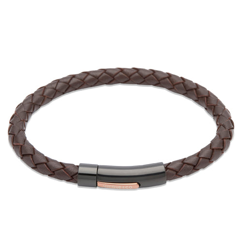 Dark brown leather bracelet with IP plated stainless steel clasp