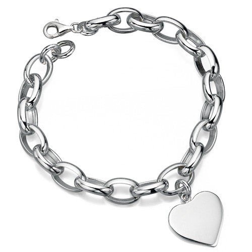 Engravable heart charm bracelet in silver