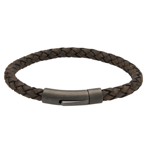 Brown leather bracelet with IP plated stainless steel clasp