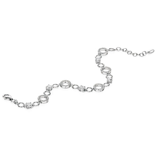 Cubic zirconia circle bracelet in silver