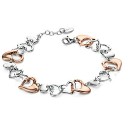 Wristwear - Multi link heart bracelet in silver with rose gold plate  - PA Jewellery