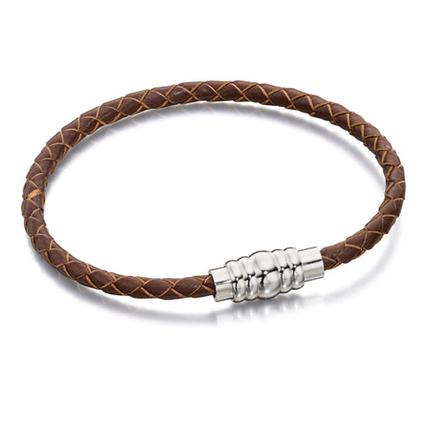 Brown gents' bracelet in leather and stainless steel
