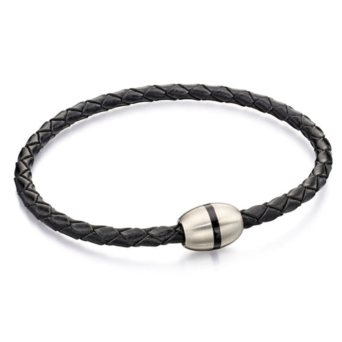 Black gents' bracelet in leather and stainless steel