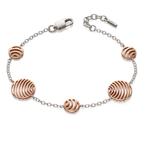 Cut-out circle detail bracelet in silver with rose gold-plating