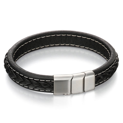 Black leather bracelet with brushed steel magnetic clasp