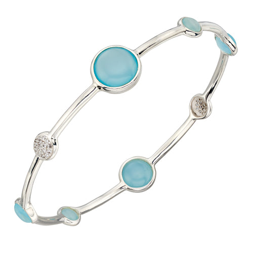 Agate and cubic zirconia bangle in silver