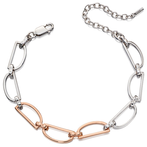 D-shaped link bracelet in silver with rose gold plating