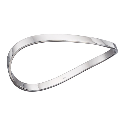 Wave bangle in silver