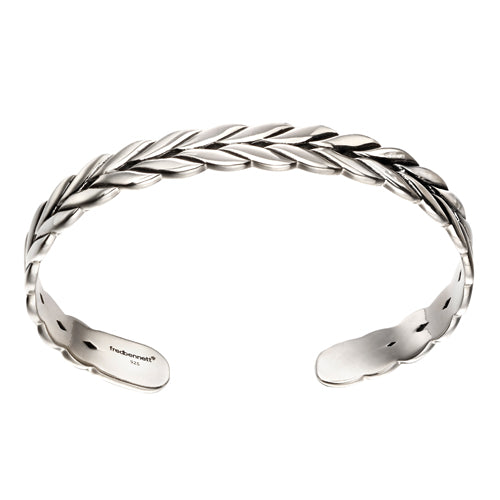 Gents' plaited cuff bangle in silver