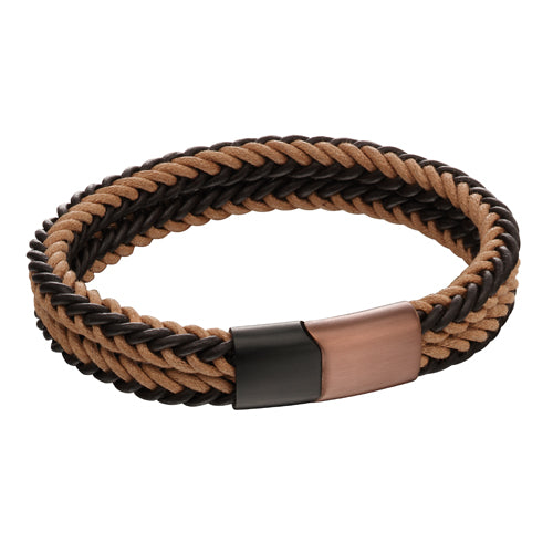 Gents' two-row bracelet in leather and stainless steel