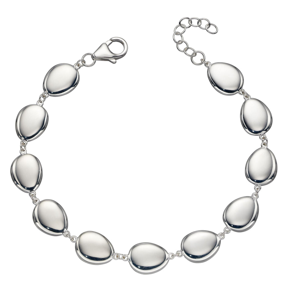 Polished pebble bracelet in silver