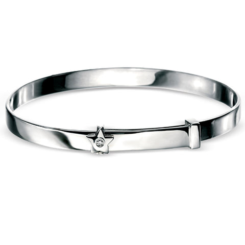 Diamond set star child's expanding bangle in silver