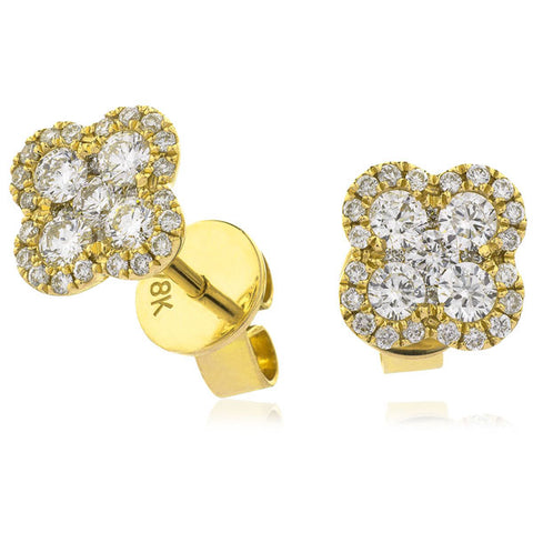 Diamond quatrefoil cluster earrings in 18ct gold,