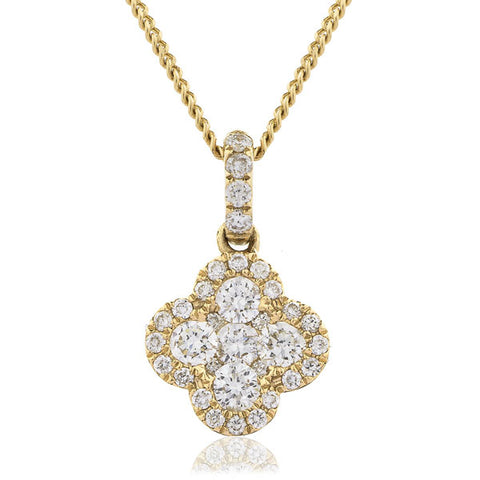 Diamond quatrefoil cluster pendant and chain in 18ct gold, 0.40ct