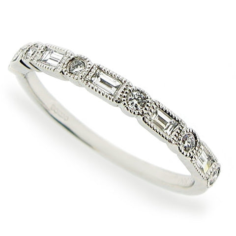 Ring - Baguette and brilliant cut diamond set wedding band in platinum  - PA Jewellery