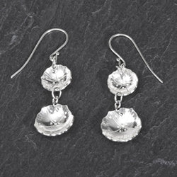 Hardy Geranium double drop earrings in argentium silver