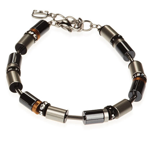 Wristwear - Black and silver cylindrical bracelet - 4455  - PA Jewellery