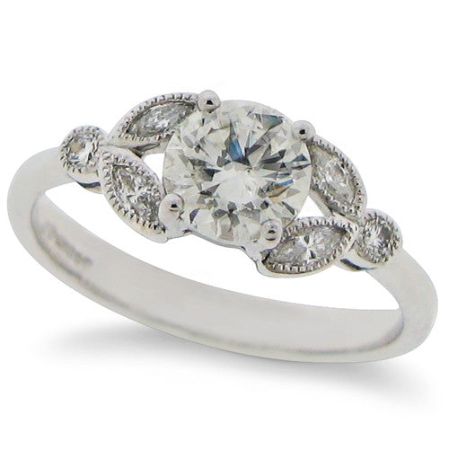 Ring - Brilliant & marquise cut Diamond ring in platinum, 0.98ct  - PA Jewellery