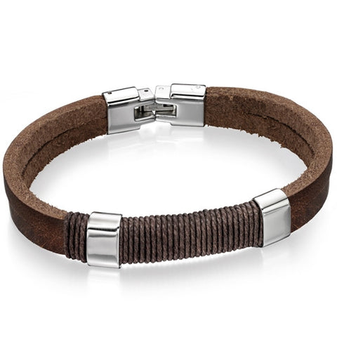Wristwear - Brown leather and wrapped cord bracelet  - PA Jewellery